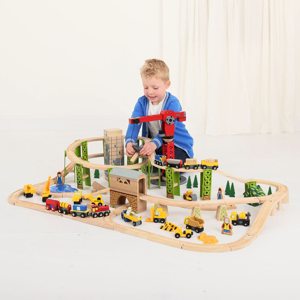 bigjigs toy construction wooden train set. Black Bedroom Furniture Sets. Home Design Ideas