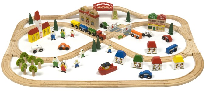 ... wooden train sets bigjigs toy town and country wooden train set