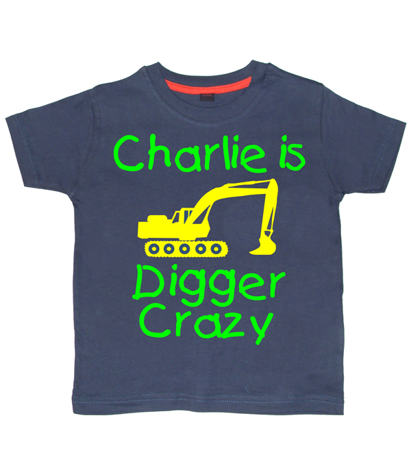 Personalised Digger Crazy T-shirt Navy