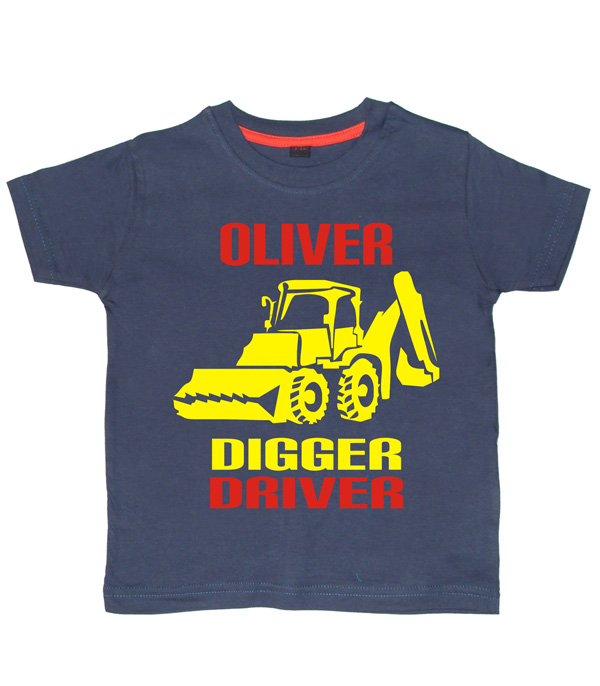 Personalised Digger Driver T-shirt Navy
