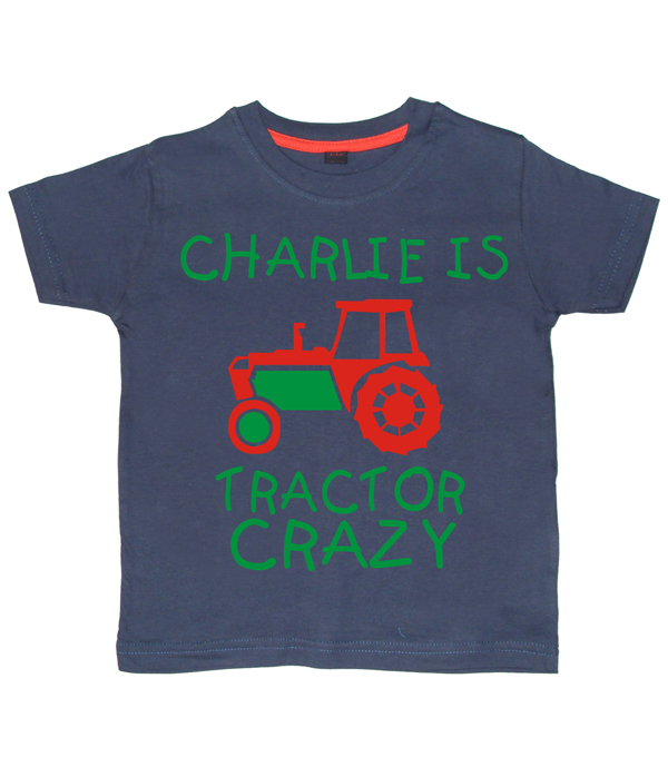 Personalised Tractor Crazy T-shirt Navy